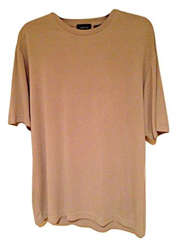 Claiborne Men's Essential Rayon Crewneck Short Sleeve Casual Shirt Beige M