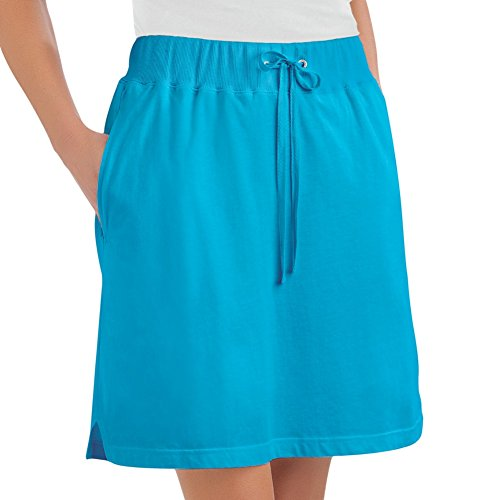 Collections Etc Women's Drawstring Cotton Knit Pull-On Skort with Elastic Waistband - Casual Summer Apparel, Turquoise, Medium