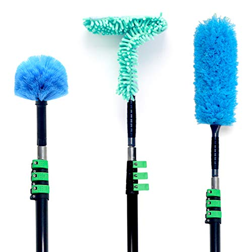 EVERSPROUT Duster 3-Pack with Extension Pole (30+ Foot Reach) | Hand-packaged Cobweb Duster, Microfiber Feather Duster, Flexible Microfiber Ceiling & Fan Duster | Aluminum Telescopic Pole
