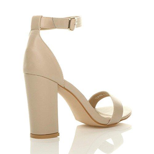 Block Strappy High Matte Heel Nude Size Women Sandals Ajvani xBFnIE5wqa