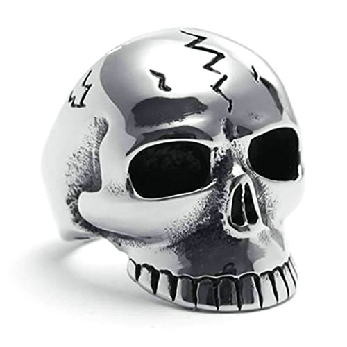 Daesar Stainless Steel Rings Mens Punk Rings Skull Ring Silver Black Rings Biker Size:8