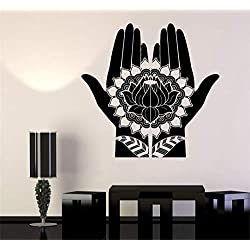 Wall Decal Sticker Art Mural Home Decor Quote Mehndi Decoration Beauty Girl Hands Henna Lotus