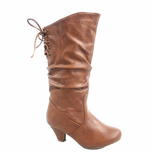 Win-40k Girl's Youth Fashion Round Toe Low Heel Slouch Half Back Lace Zipper Boots Shoes (13, Tan)