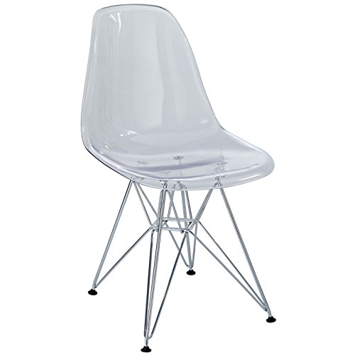 Modway Paris Mid-Century Modern Side Chair with Steel Metal Base in Clear ()