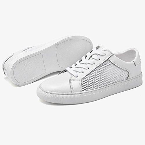 Course Chaussures Cuir Lacets en Sport Automne Chaussures 40 White De Chaussures Sneakers Printemps Noir De Blanc À Homme Confort xn067RXq
