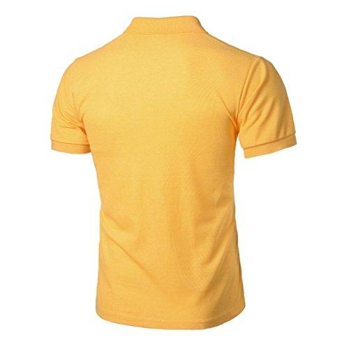 Bluestercool Hommes Fashion Manches Courtes Polo T-Shirt Casual Tops Couleur Unie Jaune