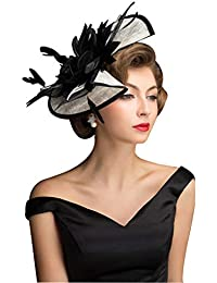 Women Sinamay Fascinators Derby Church Tea Party Wedding Flower Feathers Headpiece with Headband Clips