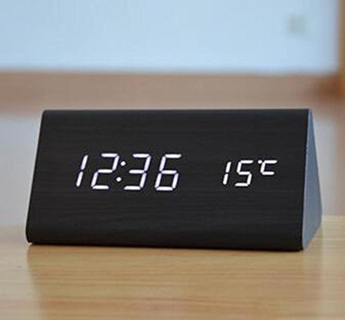 SSBY Creative electronic clock mute, fashion led wooden clock, living room bedroom clocks , black by SSBY