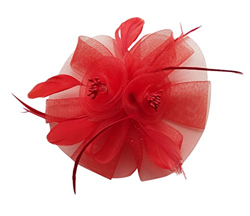 Fascinator Hair Clip Headband Feather Flower Pillbox Hat Weeding Tea Party B Red (Red Falls Church Top)