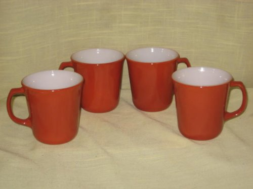 (Set of 4 - Vintage Pyrex Burnt Orange / Brown D Handle Coffee Mugs Cups)