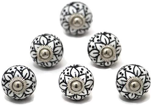 Set of 6 Small Black and White 1 inch Diameter Ceramic Knobs Cabinet Dresser Drawers poignées céramique Cabinet pulls Perillas -