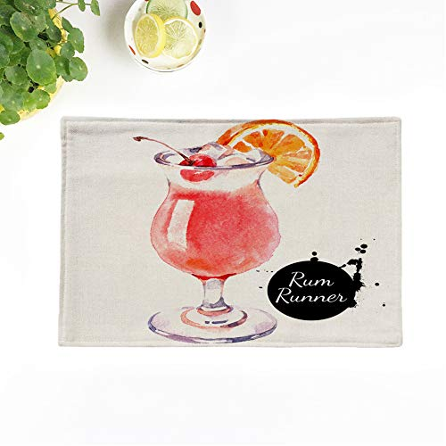 Topyee Placemats Set of 4 Orange Paint Sketch Watercolor Cocktail Rum Runner Painting Food 17x12.5 Inch Non-Slip Washable Place Mats for Kitchen Dinner Table Mats Parties Decor from Topyee