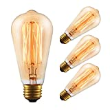 4-Pack Vintage Amber Glass Tungsten Edison Light Bulb ST64 60W Warm White 2200K, GMY Lighting
