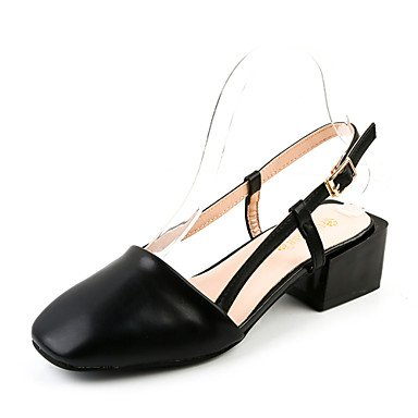 Sandalias Verano Zapatos Club Polipiel Oficina & Carrera visten casual hebilla talón plano caminando Black