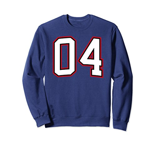 Unisex Number Four 4 Sweatshirt 2XL Navy