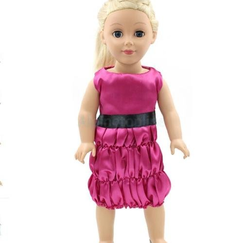 Fuchsia Sleeveless Dress Outfit for 18'' American Girl Doll Party Dressing by alpinetopline