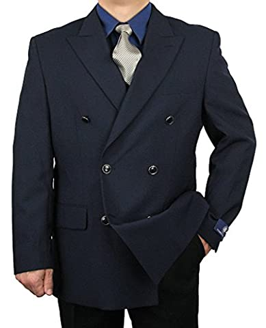 Sharp Men's Double Breasted Blazer w/matching Enamel Buttons - Navy 60L - Breasted Navy Blazer