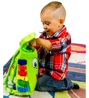 """Toddler Early Learning Basic Life Skills BUCKLE TOY /""""Buddy/"""" Backpack"""