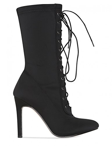 LAMODA Womens Lace up Ankle Boots in Lycra Black