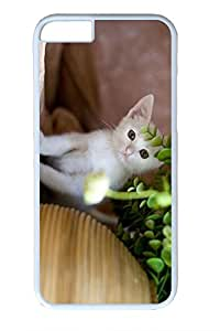 iPhone 6 Plus Case, Personalized Protective Hard PC White Case Cover for Apple iPhone 6 Plus(5.5 inch)- Hide Cat