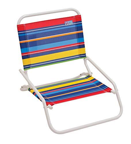 (RIO Beach Wave 1-Position Beach Folding Sand Chair - Pop Stripes)