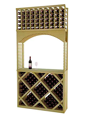 Designer Series Wine Rack - Tasting Center with Solid Diamond Bin - 8 Ft - Pine Unstained - No Lacquer