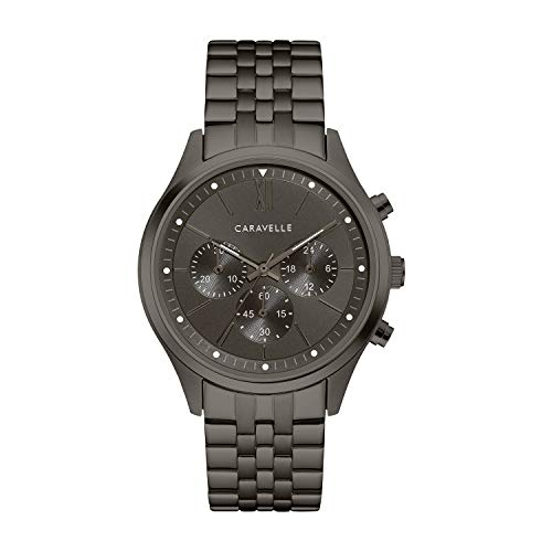 Caravelle Men's Quartz Watch with Stainless-Steel Strap, Grey, 19.75 (Model: 45A141)