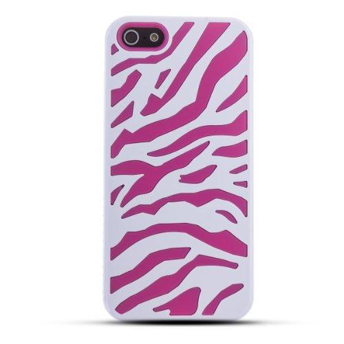 Zooky® rosa Zebra Silicone und Plastik Hülle / Schutzhülle / Cover für Apple Iphone 5 / 5S / SE