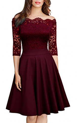 Teenagers Women Dresses Sexy Off the Shoulder Half Sleeve Winter Fall Skater Pleated Midi Dress for Women Wine Red L