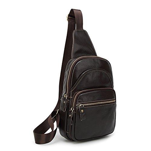 mefly–Bolso bandolera de piel Retro el saco los hombres y las mujeres bolsa Retro, marrón