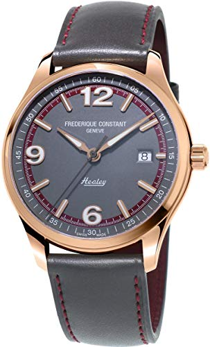 Frederique Constant Men's 'Vintage Rally' Swiss Automatic Gold and Leather Dress Watch, Color:Grey (Model: FC-303GBRH5B4)
