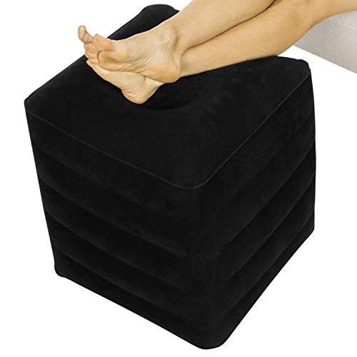 Xtra-Comfort Inflatable Foot Rest - Ottoman Cushion Support Pillow for Office Desk, Airplane Travel, Car, Camping, Kids, Adult - Ergonomic Height Adjustable, Sleep Seat - Leg Elevation with Hand Pump
