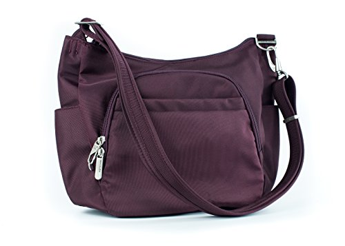 Travelon Anti-Theft Cross-Body Bucket Bag, Raisin