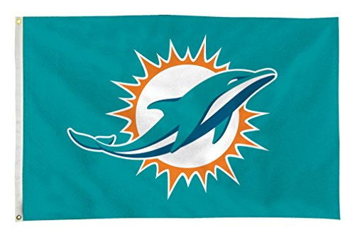 Rico NFL Miami Dolphins 3-Foot by 5-Foot Single Sided Banner Flag with (Miami Dolphins Banner)