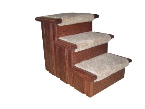 Premier Pet Steps Tall Raised Panel Dog Steps, Carpeted Tread with a Rich Cherry Stain, 17-Inch
