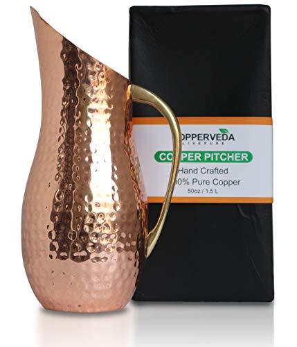 COPPERVEDA Copper Pitcher, Moscow Mule Cocktails Serving Jug-Health Water Ayurveda no Liner Inside 100% Pure Handmade 50oz(1.5L) Solid Hammered Heavy Gauge with Brass Handle Comes in Gift Box