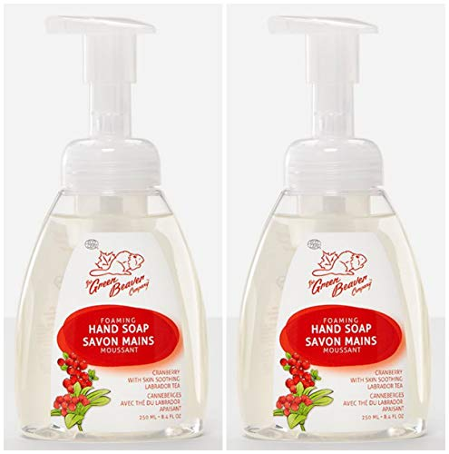 Green Beaver Cranberry Delight Foaming Hand Soap (Pack of 2) with Certified Organic Lavender Water, Carrot Seed Oil and , Vegan and Cruelty-free, 8.4 oz (Green Beaver Cranberry)