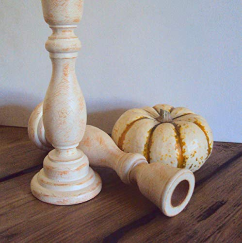 Shabby Farmhouse Candlesticks - Rustic Halloween Candle Holders - Primitive Country Chic Table Decoration - White + Yellow Autumn Decor (Set of 2) - 6 3/4