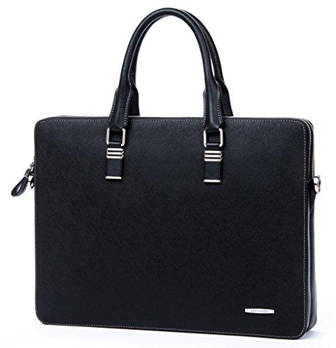 BOSTANTEN Leder Aktentasche 14 Zoll Laptoptasche Umhängetasche Herrentaschen Henkeltasche Tasche für Herren Schwarz