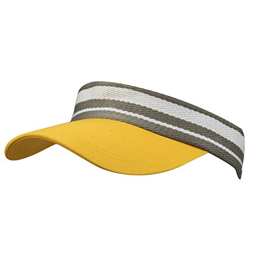Summer Outdoor Sports Beathable Long Brim Empty Top Baseball Sun Cap Hat Visor (Striped Yellow)