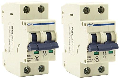 Breaker 480v 20 Amp - (2) Yuco YC-20-2B Miniature Din Rail Circuit Breaker B Curve 277/480V 50/60Hz 2 Pole 20 Amp