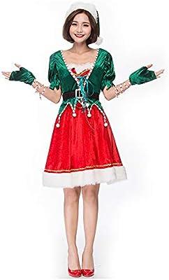 HaIIeed Disfraz De Navidad para Mujer Disfraz de Duende Verde para ...