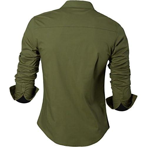 Sportrendy Hombre Camisa Moda Casual Button Down Slim Fit Dress Shirt Tops JZS046 hSjnRj