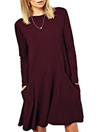 Women's Long Sleeve Pockets Casual Swing Plain T-shirt Dress