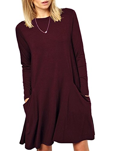 Women's Long Sleeve Loose Plain Shift T-Shirt Tunic Dress