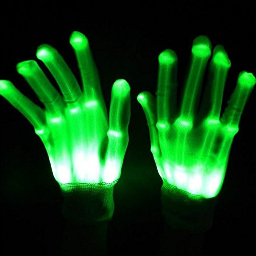LED Gloves Light Up toy Skeleton Colorful Flashing Novelty Gloves for Costume Decoration Hip Hop Shows Clubbing Rave Disco and Masquerade Theme Christmas Kids' Party Favor St.Patrick's Day by (Light Up Skeleton Costumes)