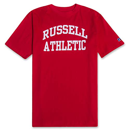 Red Classic Arched T-Shirt - Russell Mens Big and Tall Cotton