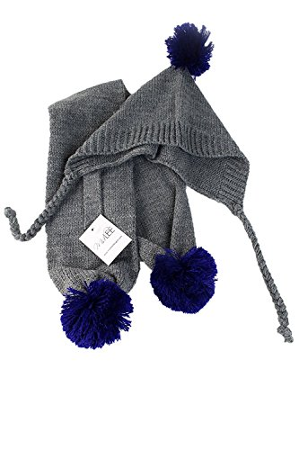 Small Gray & Blue Pom Pom Dog Hat & Scarf by Midlee