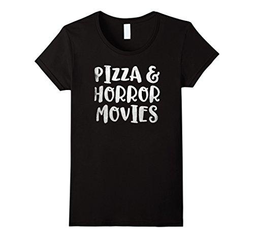 Womens Pizza and Horror Movies Date Night Shirt Fun Times Medium Black