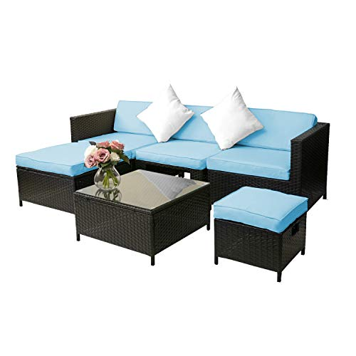 Merax 6 PCS Sectional Sofa Patio Furniture Set for Outdoor Rattan Wicker Furniture Set with Cushions and Pillows (Blue Cushion)